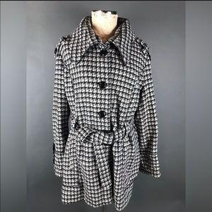 Lane Bryant 18/20 Houndstooth Coat Belted Waist